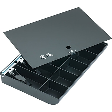 MMF Industries™ Duralite® Replacement Cash Tray with Flat Key Locking Cover, Black, 2 1/4