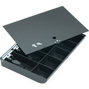"MMF Industries™ Duralite® Replacement Cash Tray with Flat Key Locking Cover, Black, 2 1/4""H x 16""W x 11 1/4""D"