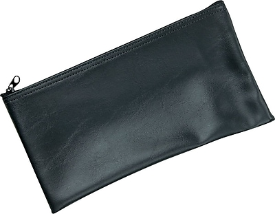 MMF Industries™ Zipper Wallets, Leatherette Vinyl, Black, 6