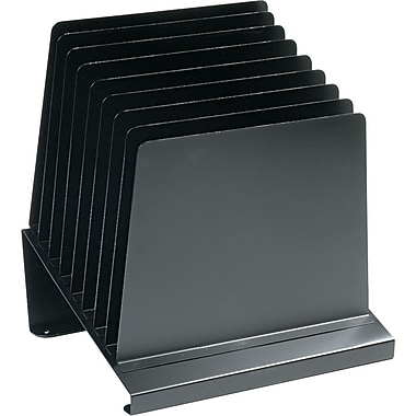 MMF Industries Slanted Vertical Organizer, 8 Compartments, Black, 12