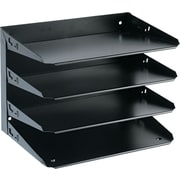 "MMF Industries Steelmaster Flat/Horizontal Organizer, 4 Compartments, Black, 9 1/4""H x 12""W x 8 3/4""D"
