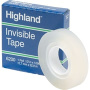 """Highland™ Invisible Tape, Matte Finish, 1/2"""" x 36 yds., 1 Roll (620012X36)"""