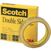 "Scotch® Permanent Double-Sided Tape, 3"" Core, 3/4"" x 36 Yards"