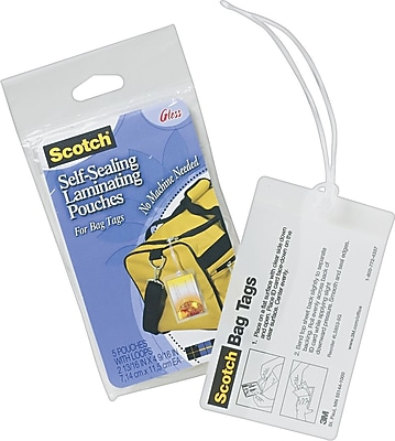 Scotch™ Luggage Tag Size Self-Adhesive Laminating Pouches, 12.5 mil, 5 pack
