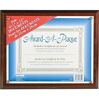 NuDell™ Economical Award Plaque, Walnut, 8-1/2