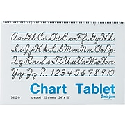 "Pacon Two-Hole Punched Chart Tablet with Cursive Cover, 24"" x 16"", Unruled, 25 Sheets/Pk"