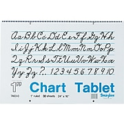 "Pacon Two-Hole Punched Chart Tablet with Cursive Cover, 24"" x 16"", Ruled, 30 Sheets/Pk"
