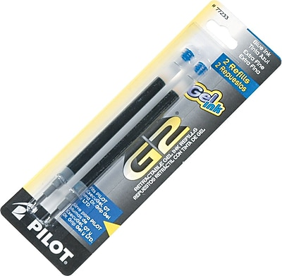 Pilot G2 Gel Roller Refill, Extra Fine Point, Blue, 2/Pack (77233)