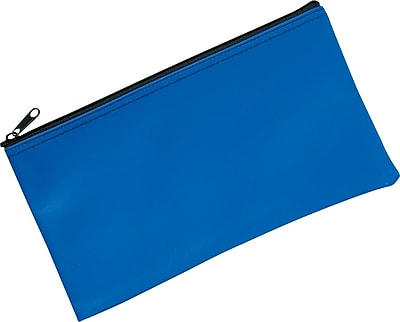 PM Company Lightweight Vinyl Bank Deposit/Utility Zipper Bag, Blue, 6