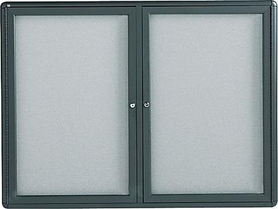 Quartet® Enclosed Radius Fabric Bulletin Board, 4' x 3', 2 Door