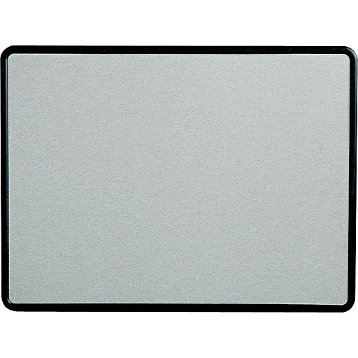Staples Fabric Bulletin Board, Gray Fabric with Black Frame, 4'W x 3'H