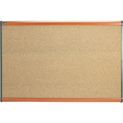 "Quartet® 35"" x 24"" Prestige® Colored Cork Bulletin Board with Light Cherry Finish Frames"