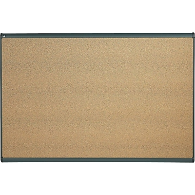 Quartet® 6' x 4' Prestige® Colored Cork Bulletin Board with Graphite Frame