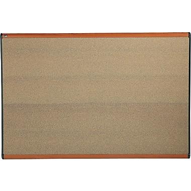 "Quartet® 71.25"" x 48"" Prestige® Colored Cork Bulletin Board with Light Cherry Finish Frames"