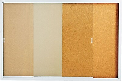 Quartet® Enclosed Cork Bulletin Board for Indoor Use, Sliding Door, Silver Aluminum Frame, 6'W x 4'H