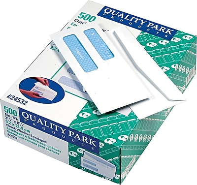 Quality Park Gummed Security Tinted Double Window #8 5/8 Envelopes, 3 5/8