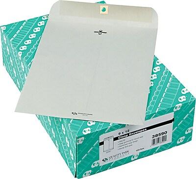 Quality Park® 28lb. Clasp Colored Catalog Envelopes, Grey Kraft, 9x12