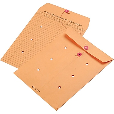 Quality Park String & Button One-Sided Standard Style Inter-Department Envelopes, 9