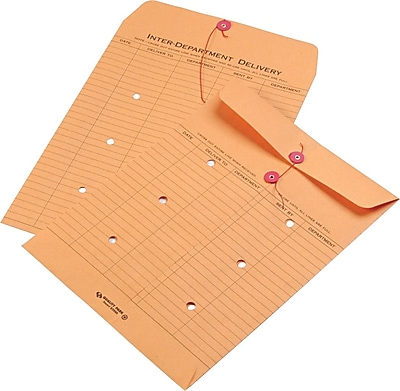 Quality Park String & Button Recycled Two-Sided Standard Style Inter-Department Envelopes, 10