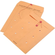 """Quality Park String & Button One-Sided Standard Style Inter-Department Envelopes, 10"""" x 13"""", Brown, 100/Ct"""