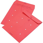 """Quality Park String & Button Brightly Colored One-Sided Standard Style Inter-Department Envelopes, 10"""" x 13"""", Red, 100/Ct"""