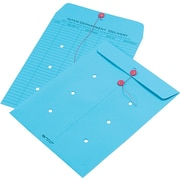 "Quality Park String & Button Brightly Colored One-Sided Standard Style Inter-Department Envelopes, 10"" x 13"", Blue, 100/Ct"