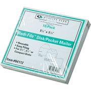 "Quality Park Self-locking Recycled Redi-File TM Disk Mailer Envelopes, 6"" x 5 7/8"", White, 10/Pk"