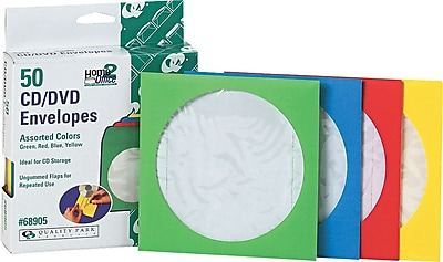Quality Park Colored CD/DVD Paper Sleeves, Assorted Colors, 50/Bx