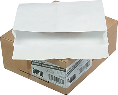 """Quality Park Tyvek® Self Seal Booklet Expansion Mailers, Open Side, #97, White, 10""""W x 13""""L , 100/Ct"""