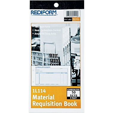 Rediform Material Requisition Book, 2 Parts, Carbonless, 4 1/4