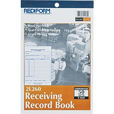Rediform® Carbonless Receiving Record Books, 5-1/2