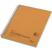 "Rediform Wirebound 3-Subject Notebook, 11"" x 8 1/2"", College/Margin Ruled, 150 Sheets/Book"