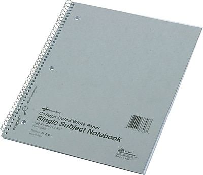 National® Notebook, 1 Subject, Assorted Colors, College Ruled, 100 Sheets, 11