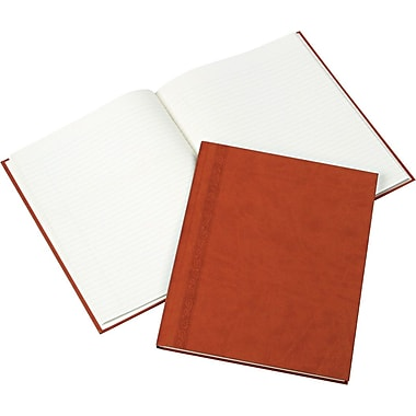 Blueline® Da Vinci Business Notebook/Journal, Bound Leather-Like Tan Cover with Embossing, 150 Cream Pages/75 Shts, 11