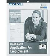 "Rediform Applications For Employment, 8-1/2 x 11"", White, 50/Pad (REDM66026NR)"