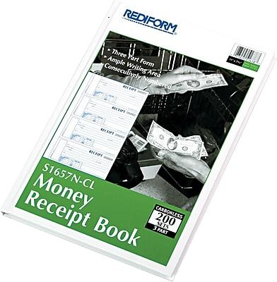 Rediform Carbonless Money Receipt Books, 3-Part, 200 Sets, Hardbound, 11