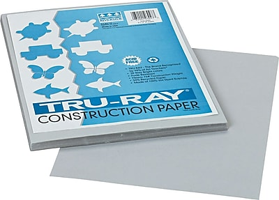 Pacon Tru-Ray® Sulphite Construction Paper, 76 lbs., Gray, 12