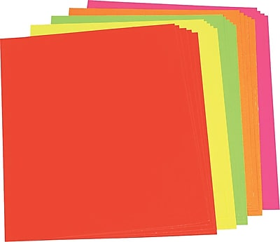 Color Poster Board, 22 x 28, Five Assorted Neon Colors
