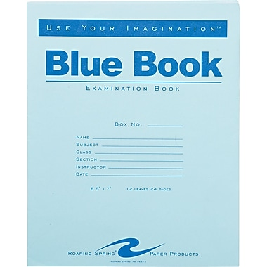 Roaring Spring Paper Products Blue Exam Book, 8 1/2