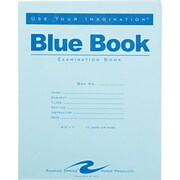 """Roaring Spring Paper Products Blue Exam Book, 8 1/2"""" x 7"""", 12 sheets/24 pages, wide ruled with margin"""