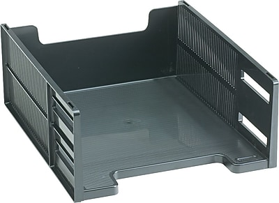 Rubbermaid High-Capacity Stackable® Tray, Front-Load, Letter, Ebony, 5
