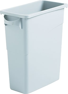 Rubbermaid Slim Jim® Waste Container, Light Gray, 15.9 Gallon, 24 7/8