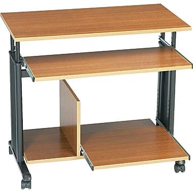 Safco® Adjustable Height Mini-Tower Computer Workstation, Medium Oak