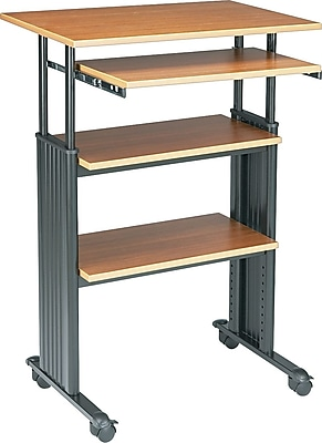 Safco 1929MO Muv Standup Adjustable Height Medium Oak Staples