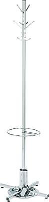 Safco® Costumer Coat Rack with Umbrella Stand, Chrome, 70