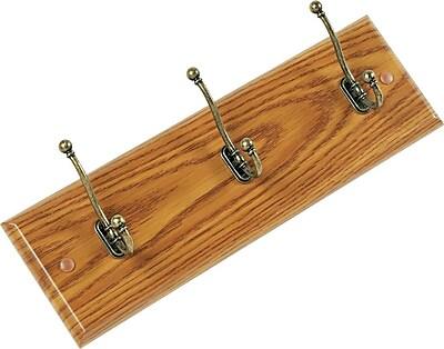 Safco Oak Finish 3 Hook Wall Rack
