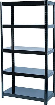 Safco Commercial Boltless Steel Shelving, 5 Shelves, Black, 72
