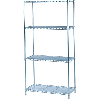 Safco® Industrial Wire Shelving, 4 Shelves, Grey, 72