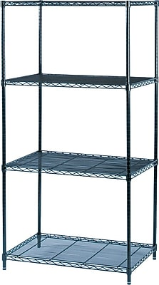 Safco® Industrial Wire Shelving, 4 Shelves, Black, 72
