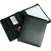 Regal™ Genuine Leather Zipper Ring Binder Portfolios, Black